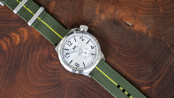 vario elastic nylon nato strap green yellow on vestal military watch