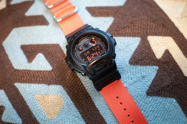 gshock dw6900 with vario nato zulu watch strap and casio adapter orange