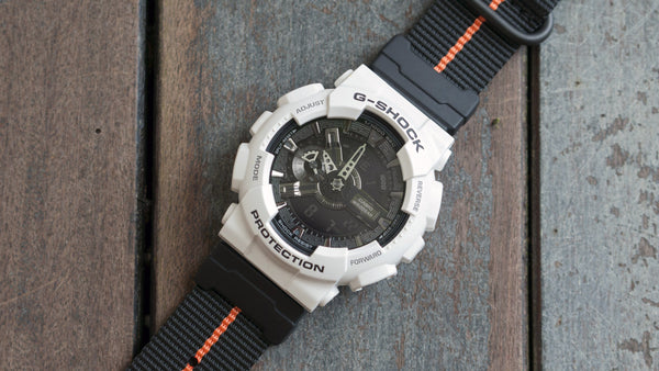 gshock ga110 with vario ballistic nylon watch strap with casio adapter black and orange