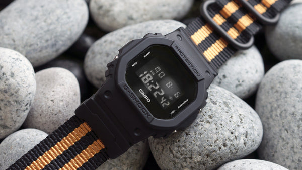 gshock dw5600 vario ballistic nylon orange black stripe maratac nato strap with casio g shock adapter