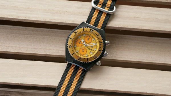 technomarine watch with vario ballistic nylon orange black stripe single pass watch strap