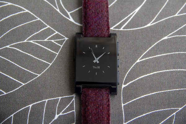 pebble smart watch with vario harris tweed red watch strap