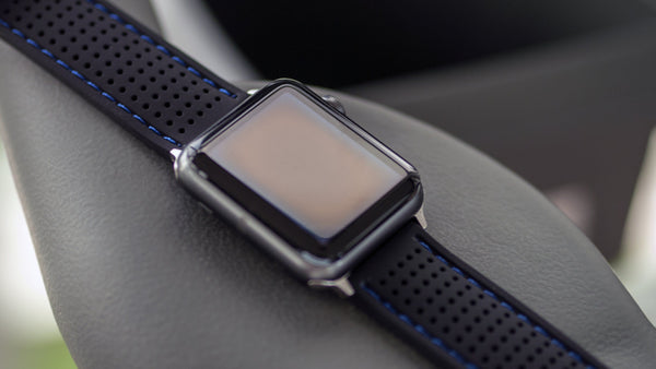 apple watch with vario perforated sports silicone strap