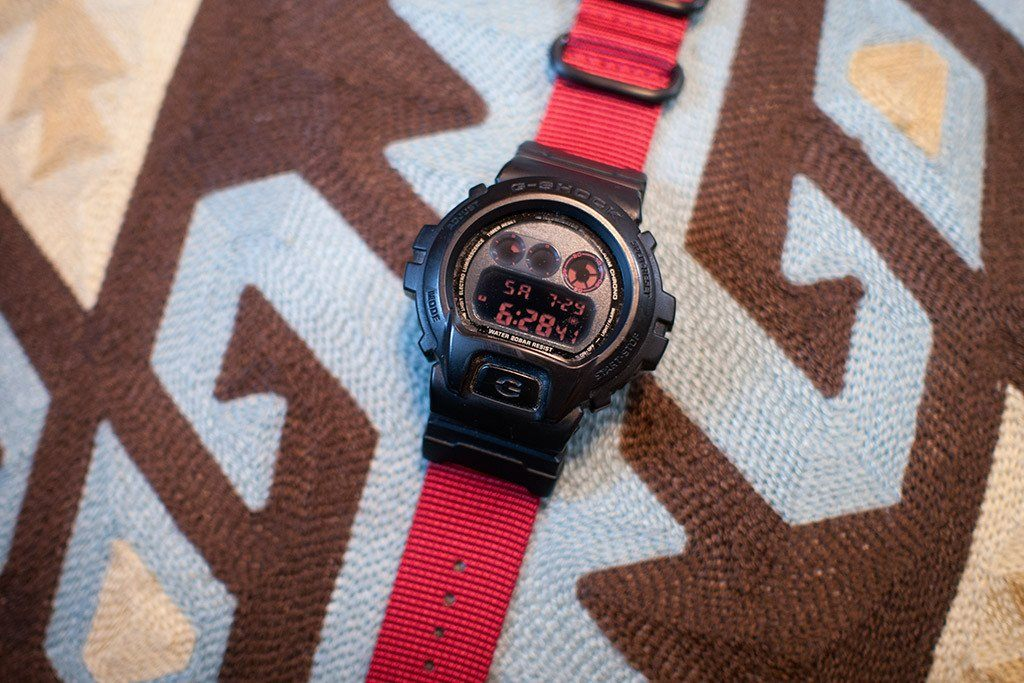 04760fa4f50 ... gshock dw6900 with vario nato zulu replacement strap and casio adapter  red