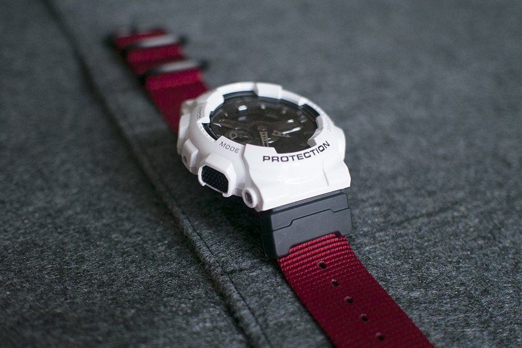 f34c133c7d5 ... g-shock ga110 with vario ballistic red nato strap and casio adapter ...