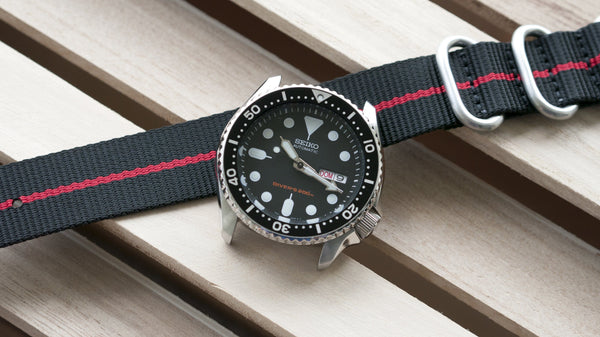 seiko skx007 dive watch with vario ballistic nylon red black stripe single pass watch strap