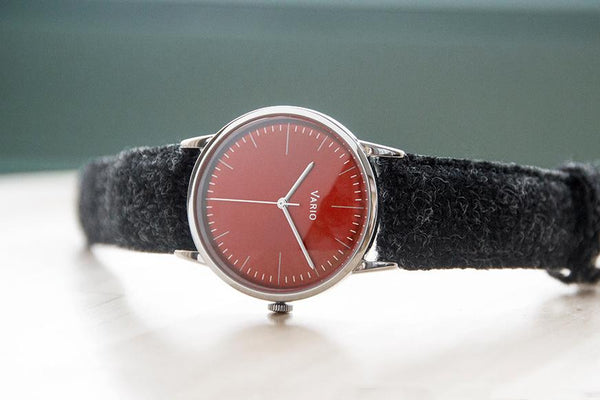 eclipse red dress watch double dome sapphire with harris tweed strap