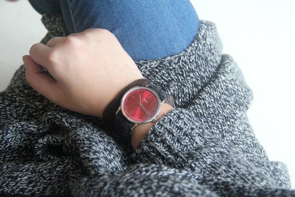 eclipse red dress watch 38mm on wrist