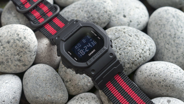 gshock dw5600 vario ballistic nylon red black stripe maratac nato strap with casio g shock adapter