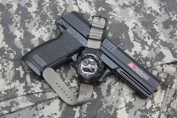 gshock ga710 on vario ballistic nylon strap kit with casio adapter