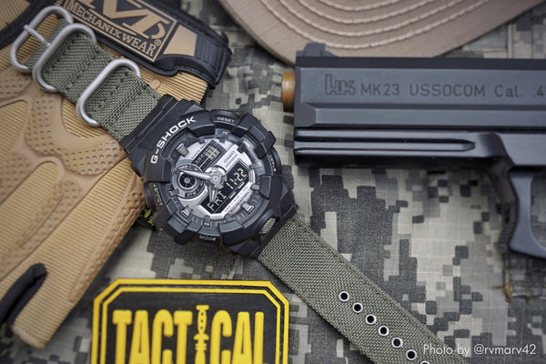 vario cordura watch strap for gshock vintage army green