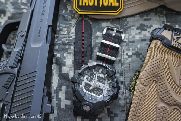 Elastic Nylon Coal Black / Crimson Divider Watch Strap with G-Shock Nato Adapter and Spring Bar Tool