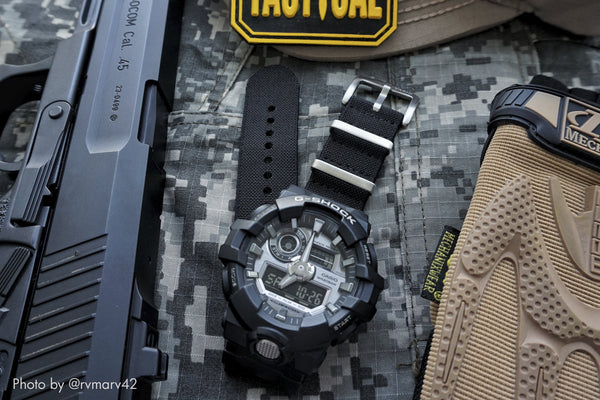 gshock ga700 watch with vario elastic nato strap