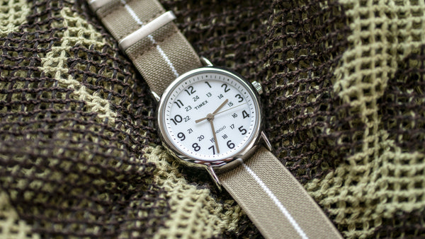 vario elastic nylon nato strap khaki brown on timex weekender watch