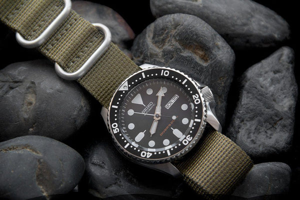 seiko skx007 dive watch vario ballistic nylon strap brown