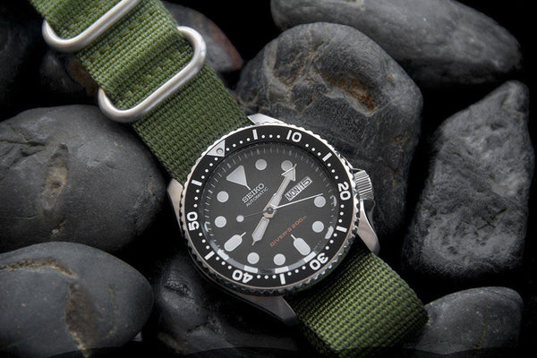세이코 skx007 다이브 시계 vario ballistic nylon replacement band strap green