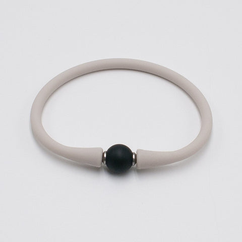 vario black agate on ivory silicone band