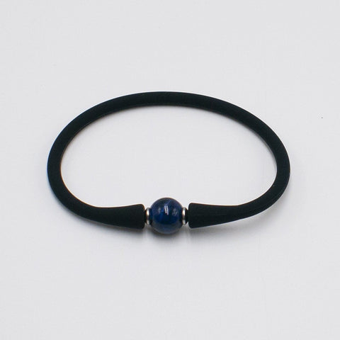 vario blue tiger eye on black silicone bracelet