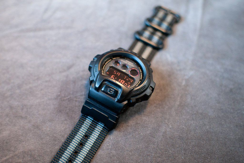 5b88cdede02 ... gshock dw6900 with vario nato zulu replacement watch band and casio  adapter stripe