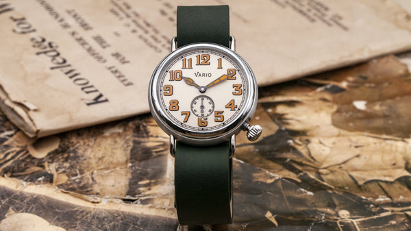 Vario 1918 Trench Field Uhr Creme Zifferblatt Orange Lume 37mm