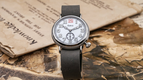 vario 1918 trench field watch white dial white lume 37mm