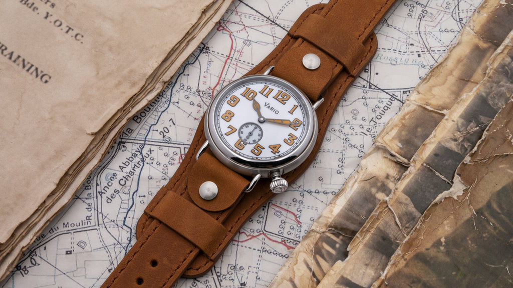 montre vario 1918 trench field cadran blanc lume orange 37mm