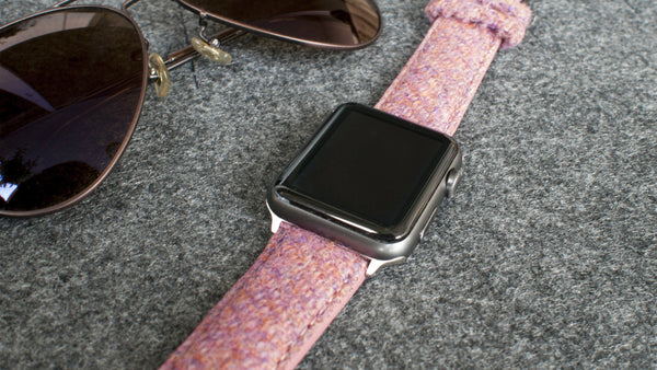Harris Tweed bubble gum pink Watch Strap for 38mm 42mm Apple Watch