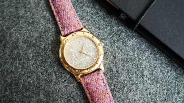 vario Harris Tweed Bubble gum pink Watch Strap with australian coin watch