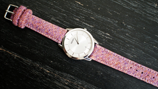 Seiko dress watch with Vario Harris Tweed Bubble Gum Pink Watch Strap