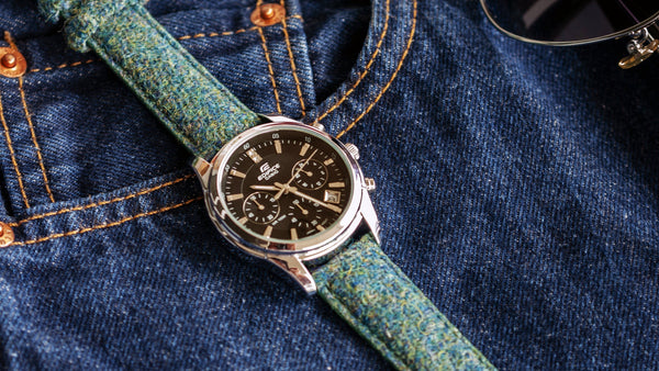 casio edifice avec bracelet de montre en tweed vario harris