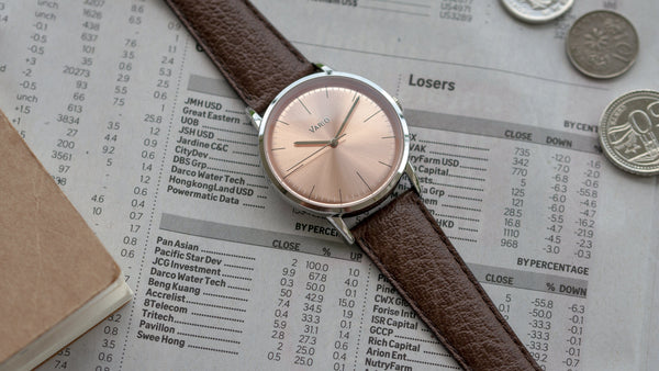 vario salmon dress watch 38mm with zrc buffalo leather strap