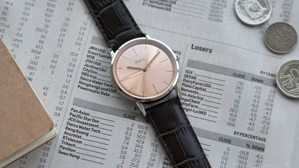vario eclipse salmon dress watch with crocodile grain leather strap