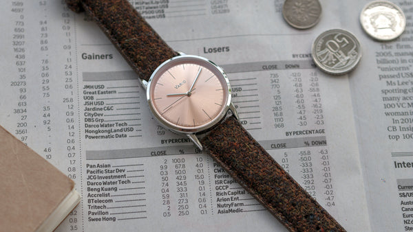 vario eclipse salmon dress watch with harris tweed strap