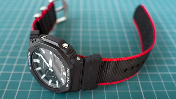 Casio GShock GA2100 black red seat belt nato