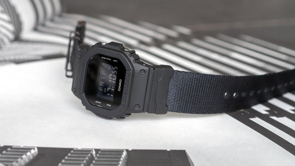 gshock dw5600 with vario seat belt nato watch strap single layer