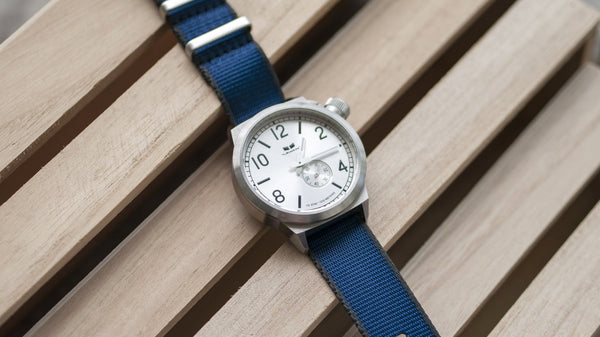 raymond weil watch with vario seat belt blue grey single pass nato strap