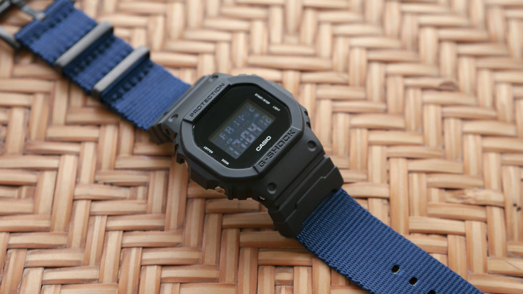 3e0a15939db Seat Belt Navy Blue Watch Strap with G-Shock Nato Adapter and Spring ...