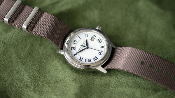 raymond weil watch with vario seat belt single pass nato strap
