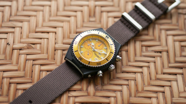 technomarine watch with vario seat belt single pass nato strap