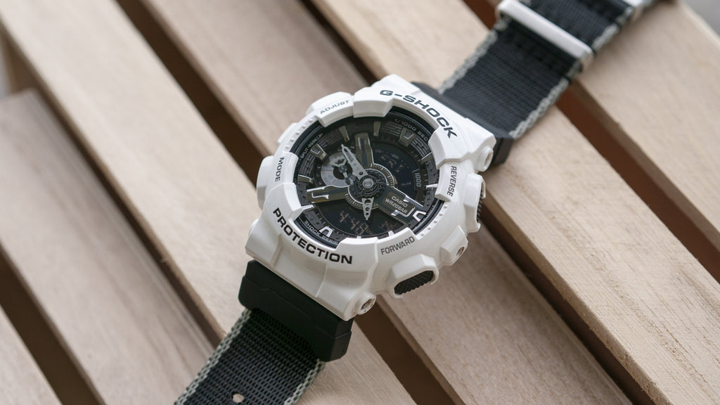 80deb1664cc Seat Belt Pewter Edge Watch Strap with G-Shock Nato Adapter and ...