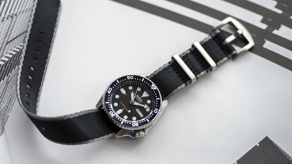 세이코 skx 007 with vario seat belt single pass nato watch strap