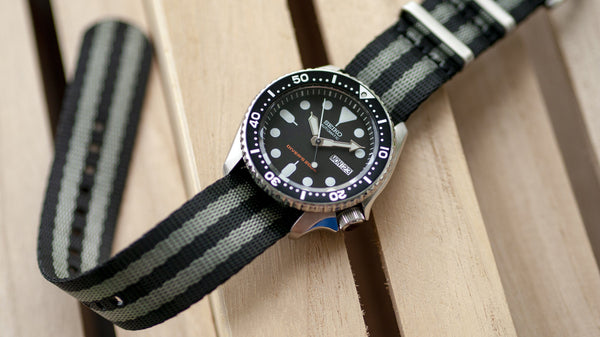 seiko skx 007 with vario seat belt single pass nato watch strap