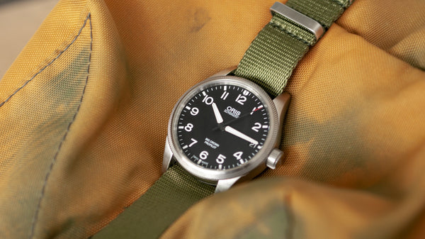 oris watch with single pass olive green seat belt nato