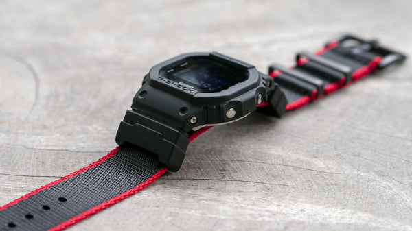 gshock dw5600 with seat belt nato adapter kit red and black