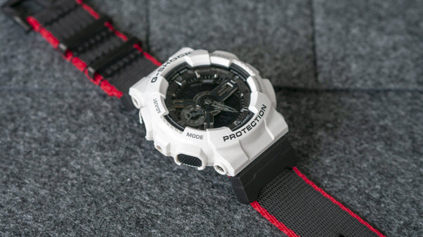 gshock ga110 on vario seat belt nato watch strap with adapter black and red