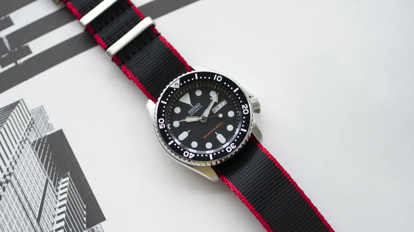 seiko skx 007 with vario seat belt single pass nato watch strap red and black