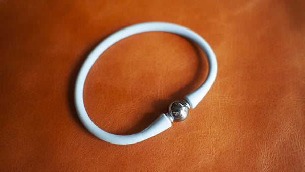 vario hematite on light blue silicone bracelet