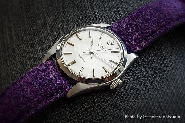 rolex watch with vario harris tweed purple watch strap