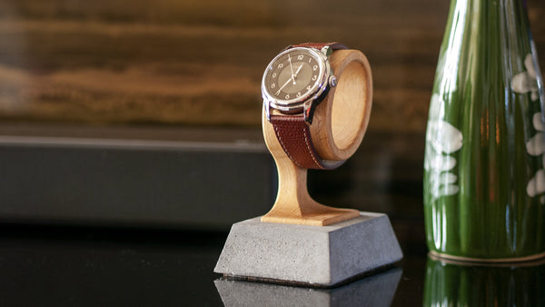 vario beech wood concrete watch display stand