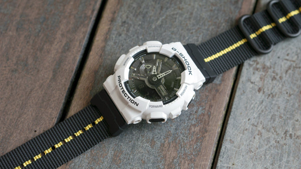 GSHOCK GA110 with vario ballistic nylon yellow black stripe nato zulu watch strap